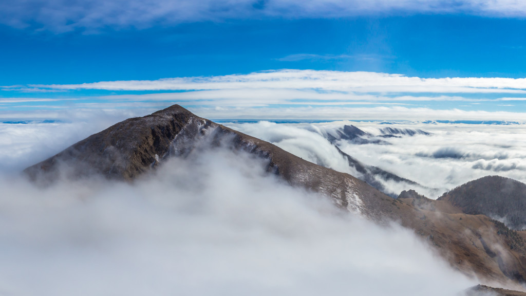 In a relatively short amount of time (about 20 min.) the clouds cleared and exposed the entire Bridger Range.