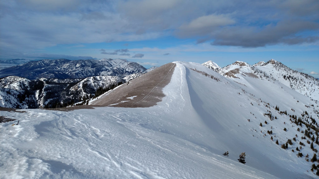 Looking north from the summit. The real summit of Baldy is the peak furthest to the right. Photo taken February 2016.