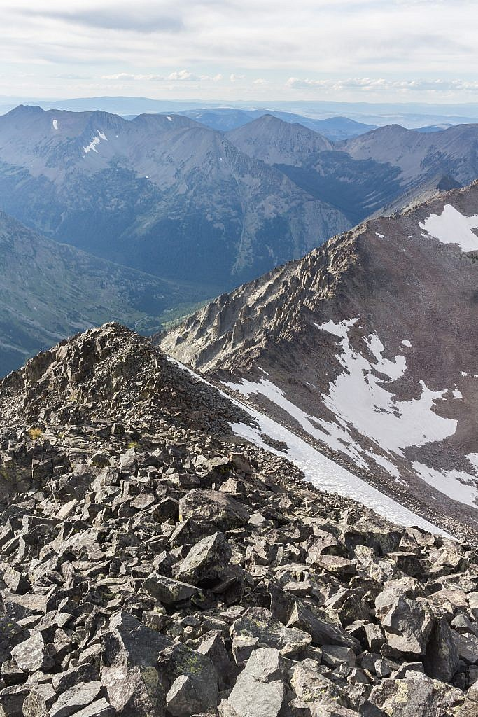 Looking north from the summit. Sunlight Peak on the far left. Conical can also be climbed from Cave Lake via this ridge.