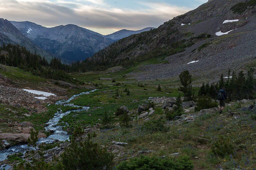 Heading down into the meadows below Glacier Lake.
