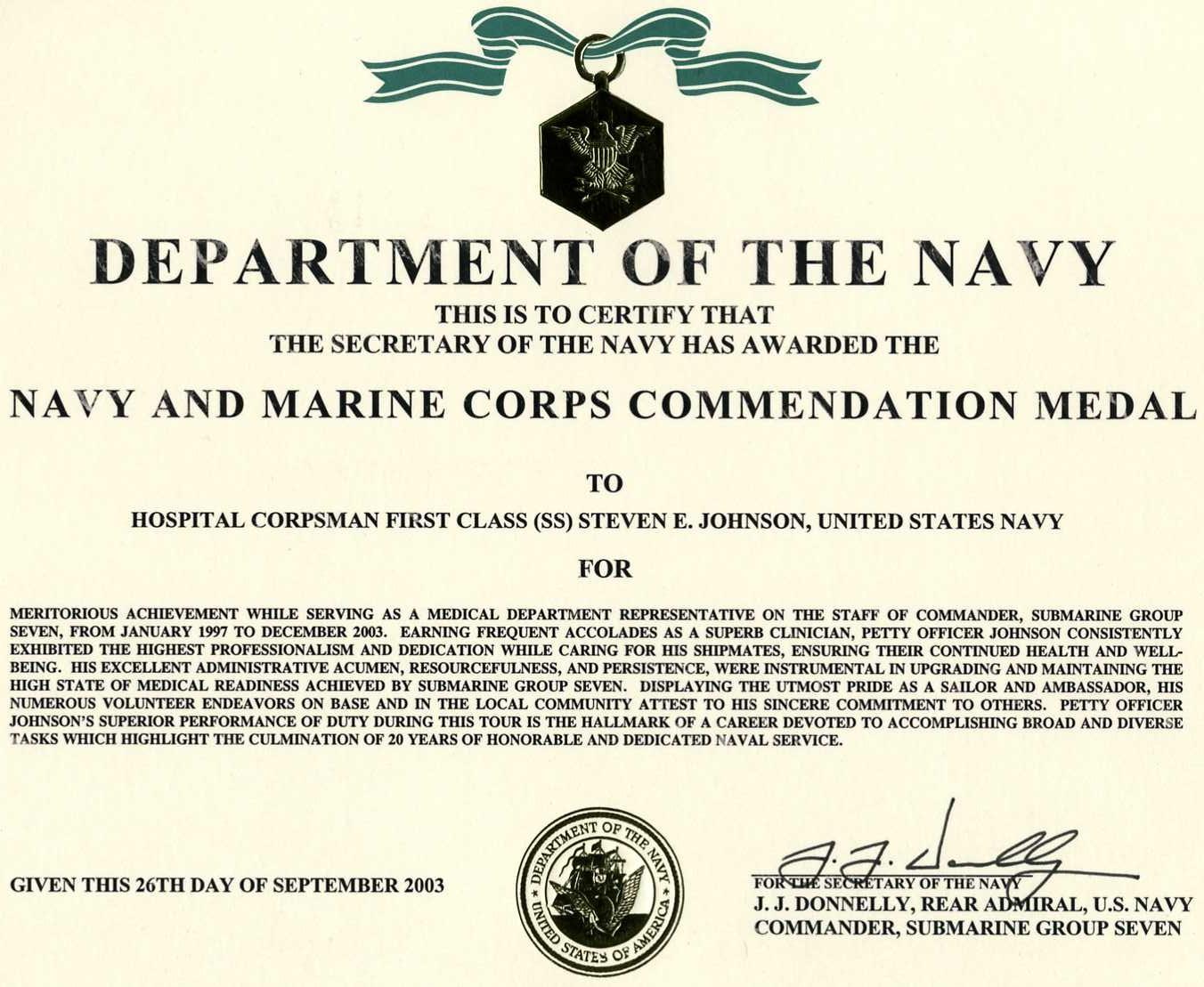 certificate of commendation usmc template - togetherweserved steven johnson hm1