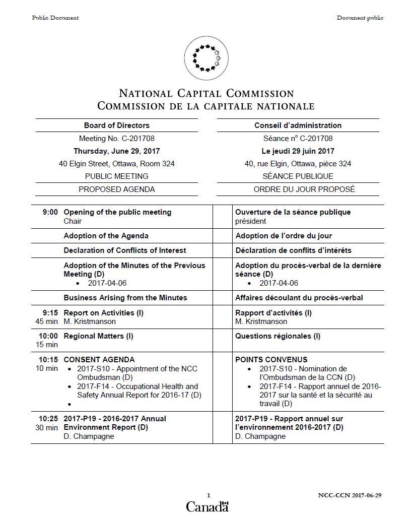 Agenda séance publique - Le jeudi 29 juin 2017