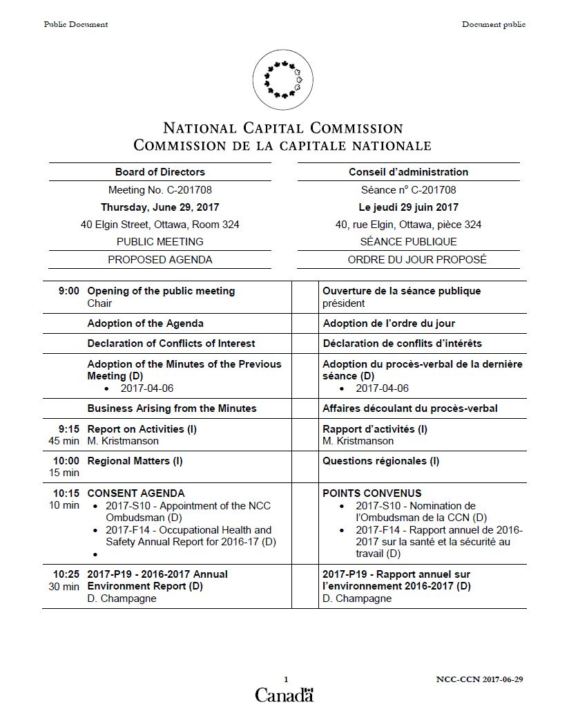Public Meeting Agenda - Thursday, June 29, 2017