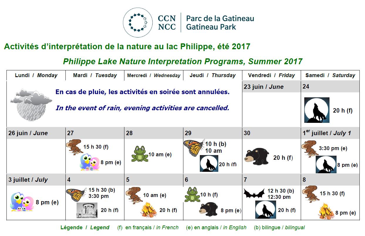 Activités d'interprétation de la nature au lac Philippe - été 2017