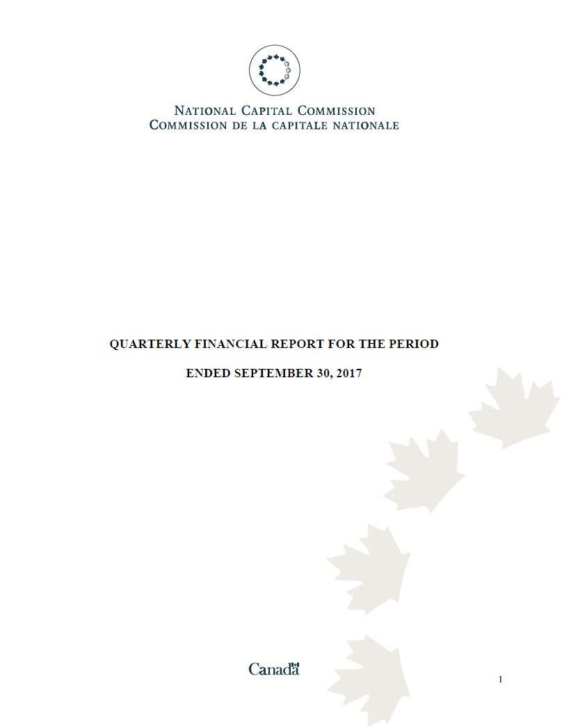 Quarterly Financial Report for the Period - September 2017