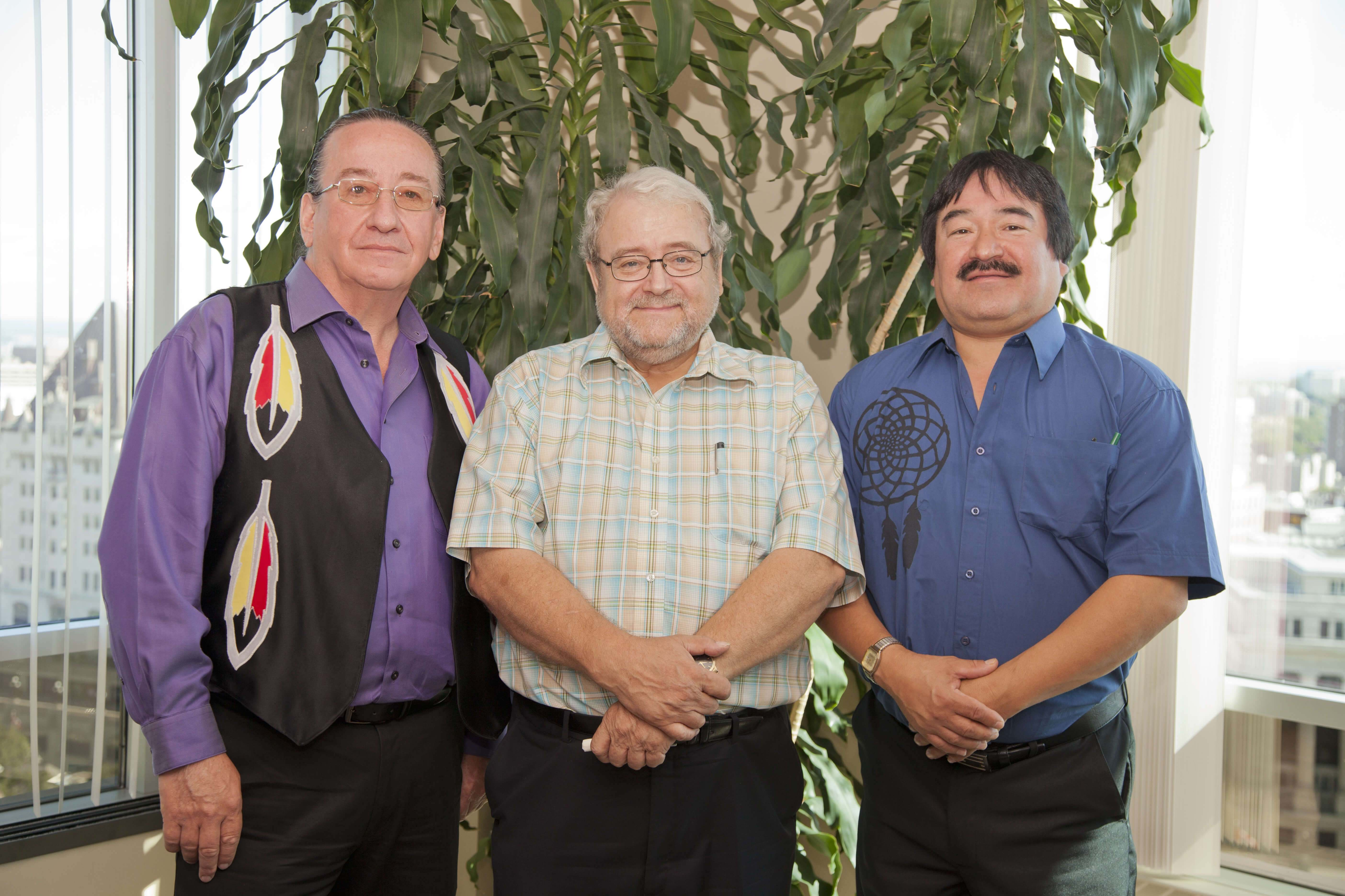 Ian with the Kitigan Zibi Anishinabeg and the Algonquins of Pikwakanagan First Nation Chiefs