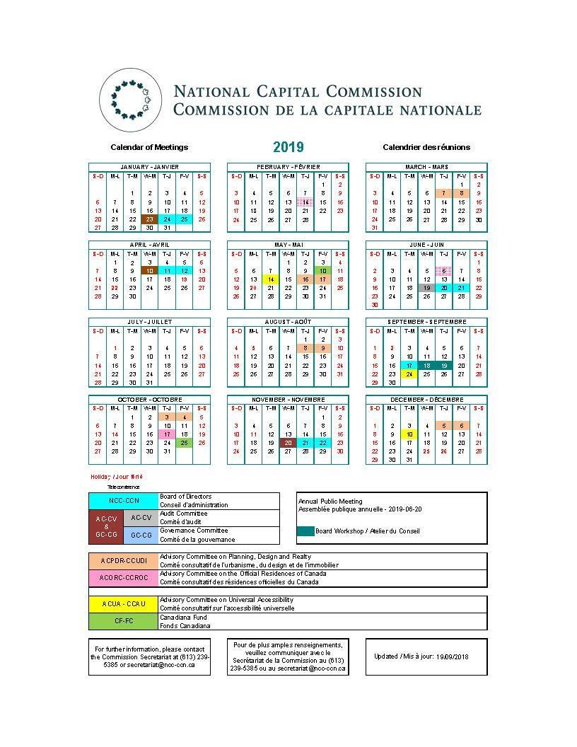 Calendrier des réunions de la CCN 2019