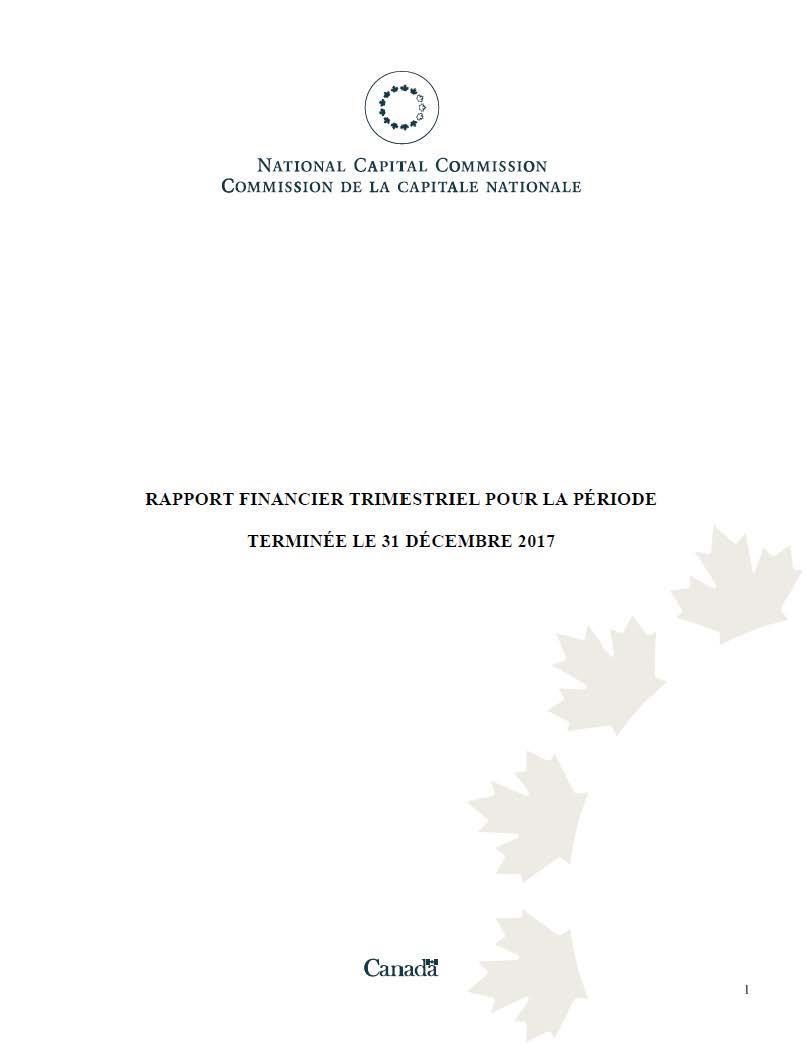 Rapport financier trimestriel pour la période terminée le 31 décembre 2017