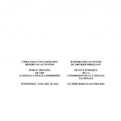 Rapport des activités du Premier Dirigeant Séance publique - Janvier 2013