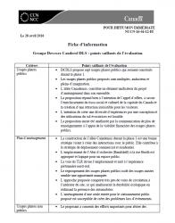 Groupe Devcore Canderel DLS - points saillants de l'évaluation