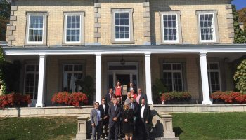NCC CEO Dr. Mark Kristmanson with some of the NCC's key partners in Québec City at the Domaine Cataraqui.
