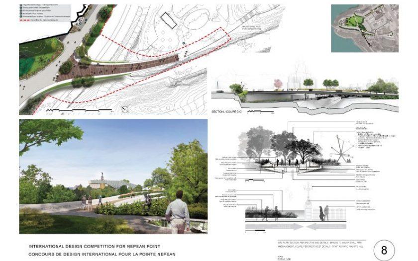 Aménagement, coupe, perspective et détails - Pont au parc Major's Hill