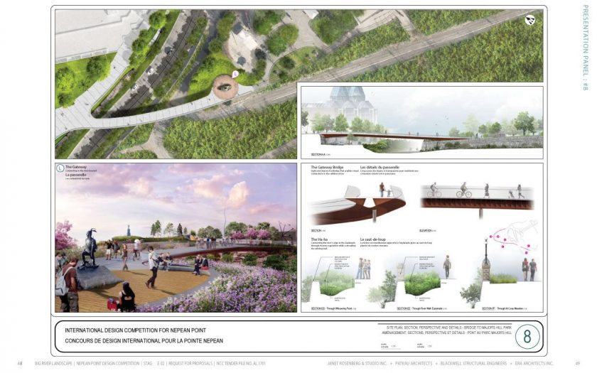 Site plan, section, perspective and details - Bridge to Major Hill Park