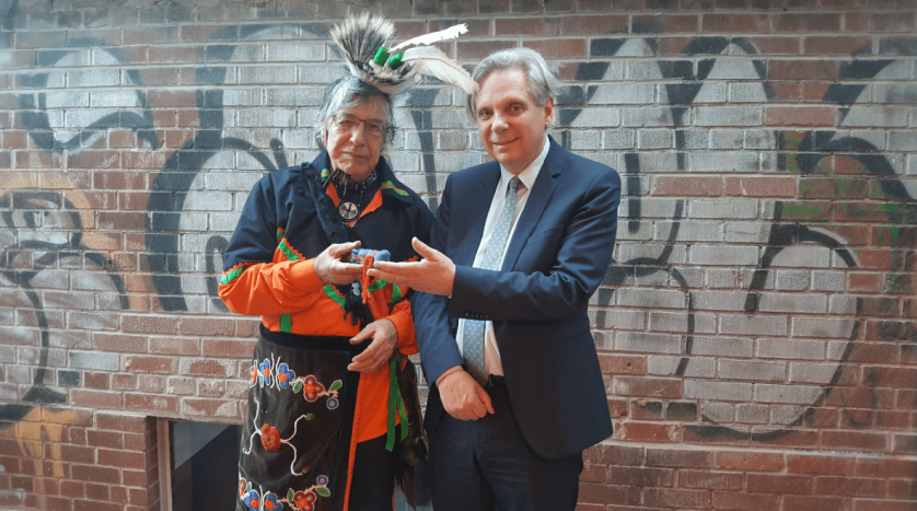 Elder Garry Sault from the New Credit First Nation and NCC CEO Dr. Mark Kristmanson