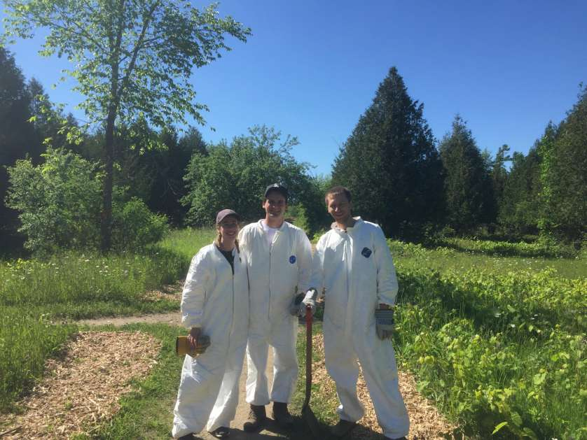 Student biologist Laura Haniford, Dr. Roman Kryuchkov (University of Ottawa) and I conducting a tick research project earlier this summer.
