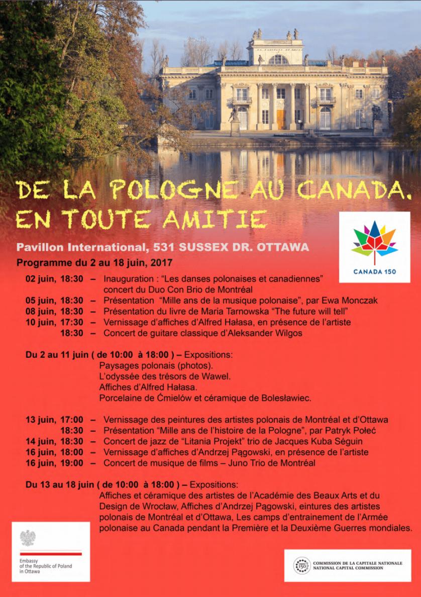 Programme - De la Pologne au Canada, en toute amitié
