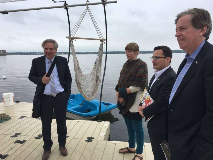 Left to right: NCC CEO Dr. Mark Kristmanson, Becka Viau of the Flotilla Festival, Daniel Feeny of the NCC, John Geiger of The Royal Canadian Geographical Society