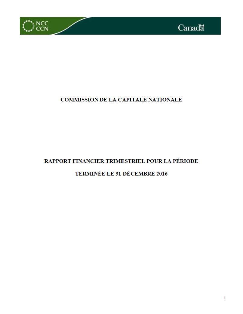 Rapport financier trimestriel pour la période terminée le 31 décembre 2016