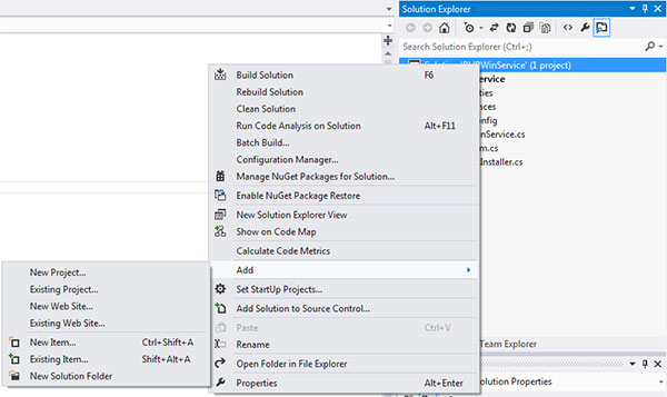 VS 2012 Add Setup for Windows Service