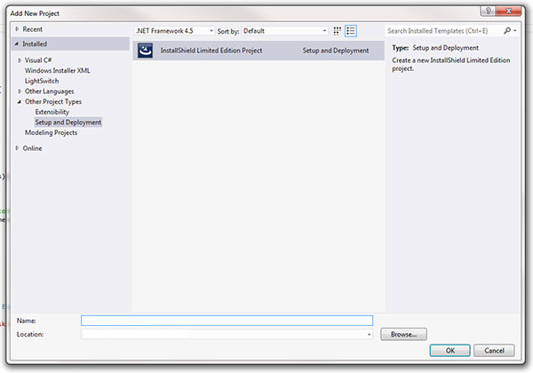 VS 2012 InstallShield for Windows Service Setup