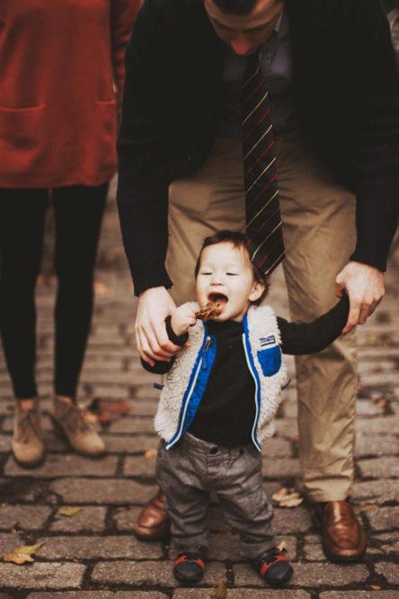 A One Year Old Eats a Leaf – Washington DC Family Portraits