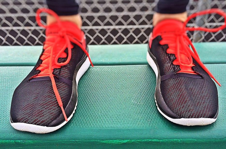 workout routine - running shoes