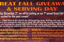 Gathering Items for 7th Annual Great Fall Giveaway!