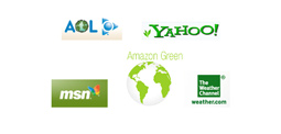 NewsBusters.org | photoshop of green logos by AOL, MSN, Yahoo!, Weather Channel, and Amazon.com by Danny Glover