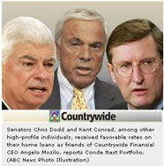 Sens. Chris Dodd and Kent Conrad pictured with Angelo Mozilo, ABCNews.com | NewsBusters.org