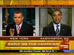 Russ Mitchell and Barack Obama, CBS