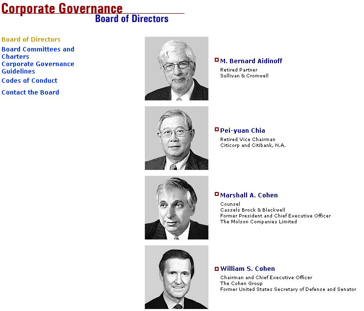 AIG Board of Directors page archived