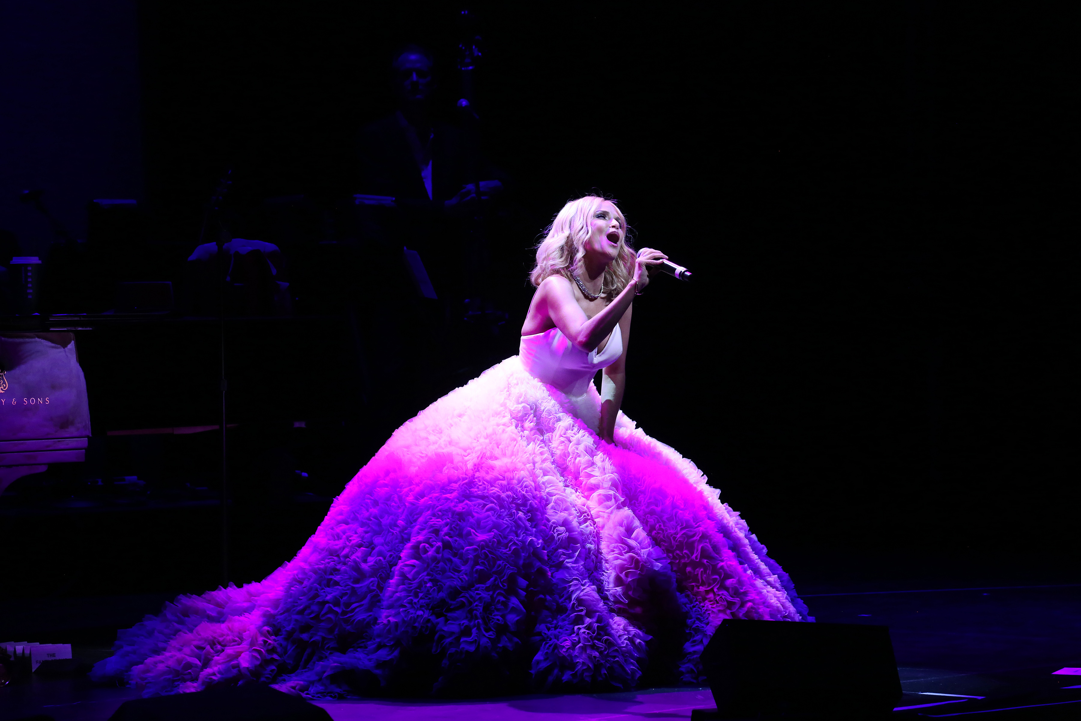 Kristin Chenoweth performing during the Opening Night of Kristin Chenoweth—My Love Letter To Broadway at the Lunt-Fontanne Theatre on November 2, 2016 in New York City.