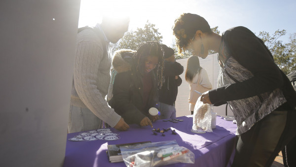 Students participate in the Black History Month Kick-Off at Trone Student Center. (size: funews-syndication)