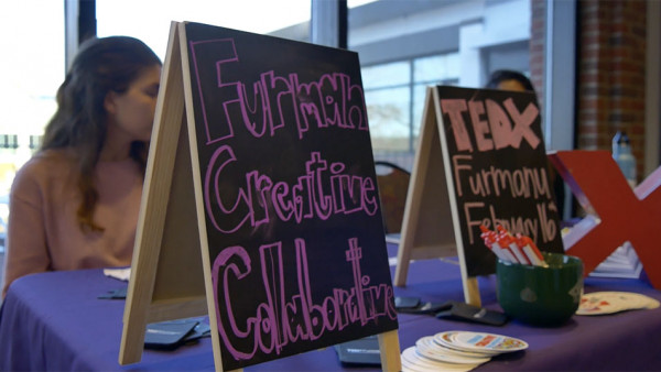 A chalkboard reading Furman Creative Collaborative on a table. (size: funews-syndication)