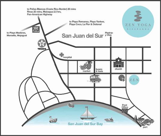 Zen Yoga Nicaragua Yoga Studio Location Map - San Juan Del Sur, Nicaragua