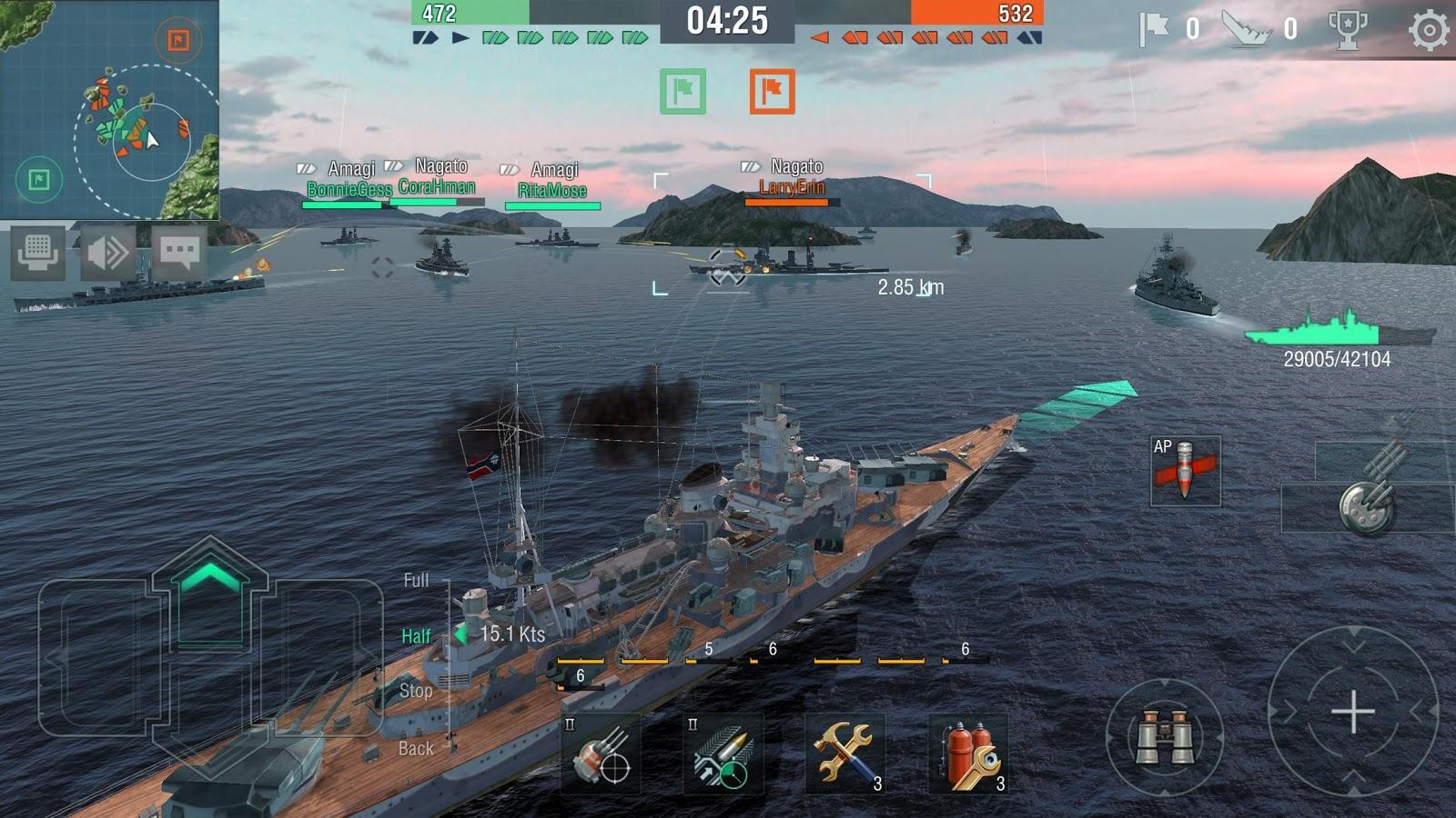 Battleships in World of Warships Blitz