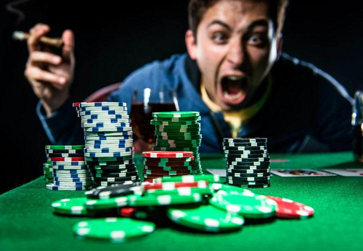 A poker player losing his temper