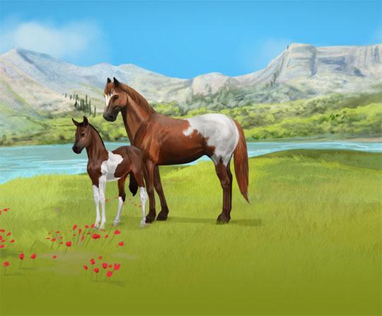 Beautiful Mare & Foal in Howrse