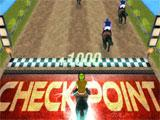 Racecourse Horses Racing running through a checkpoint