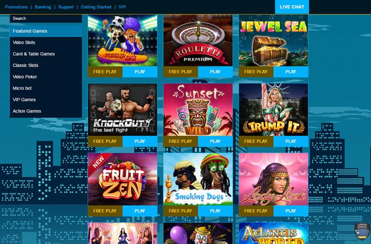 Wide selection of casino games