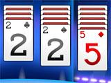 Solitaire Rivals 2 of Clubs, 2 of Spades and Five of Diamonds