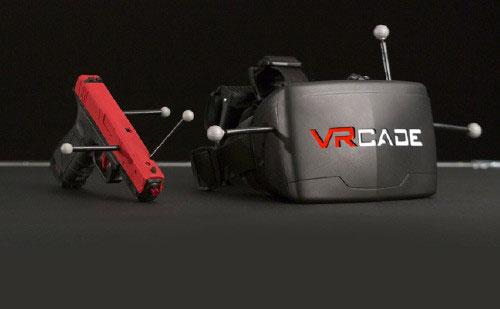 VRcade headset and prop gun