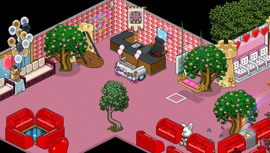 Pink Themed Lobby in Habbo Hotel