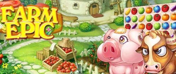 Ferme Epic - Promenez-vous dans la ville et complets Match 3 jeux que vous récoltes agricoles pour Billy Bull.