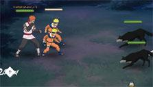 fighting a pack of wolves in Naruto Online