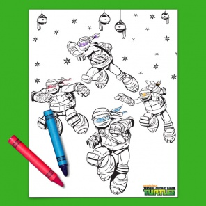Deck the Sewers TMNT Coloring Page