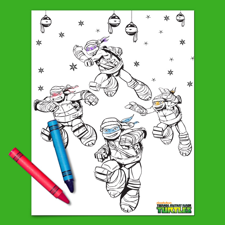 Teenage Mutant Ninja Turtles Coloring Pages Nickelodeon Teenage Mutant Ninja Turtles Holiday Coloring Page  Nickelodeon .