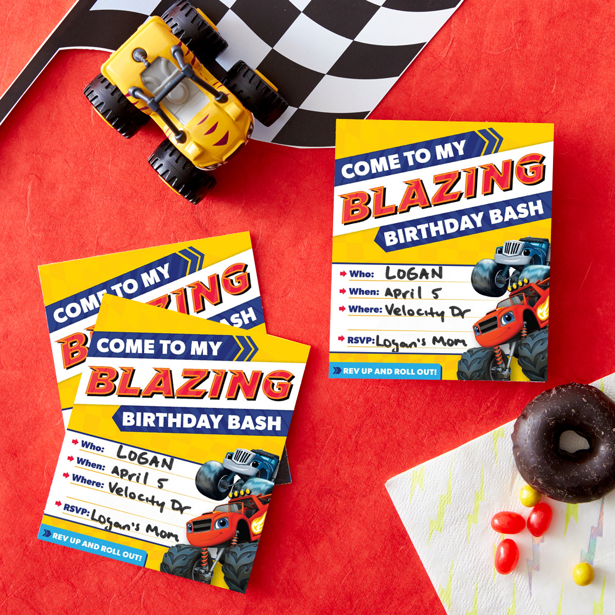 Blaze Birthday Party Invitations