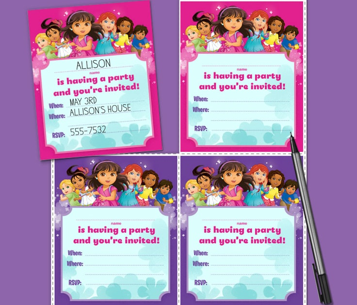 dora and friends birthday party invitations nickelodeon