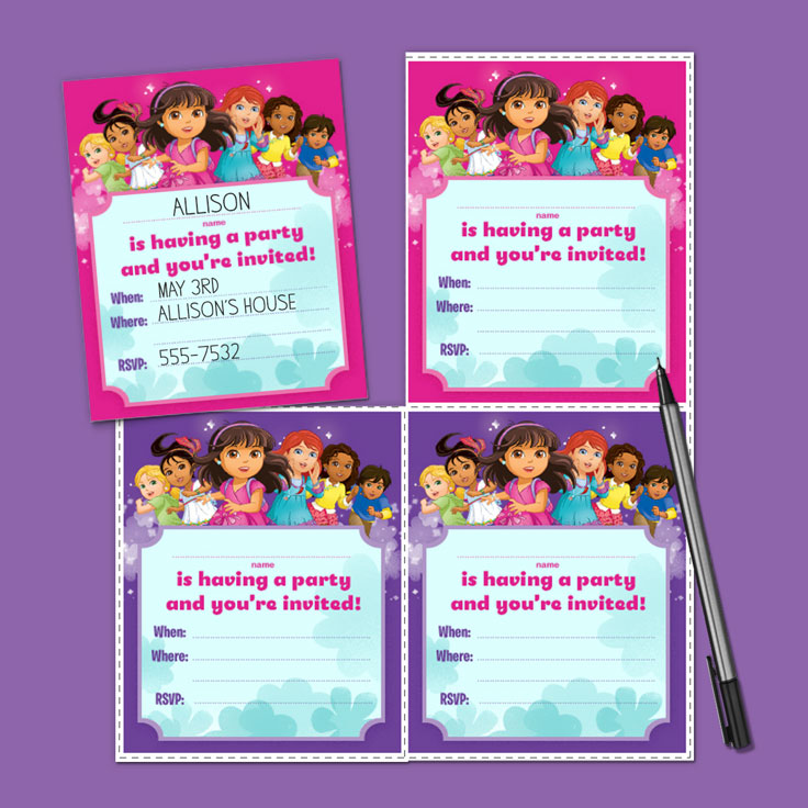 Dora and Friends Birthday Party Invitations – Printable Dora Birthday Invitations